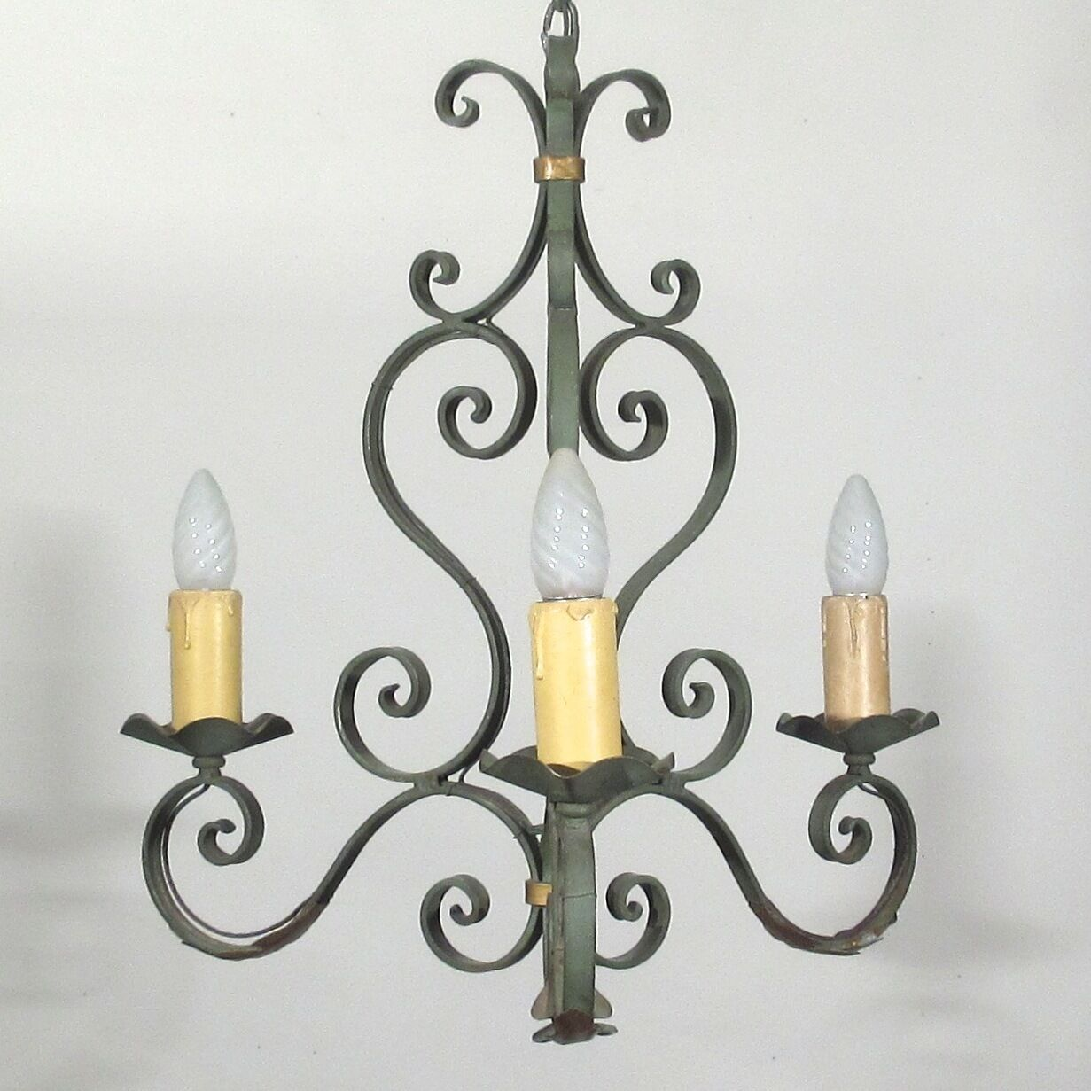 Authentic Old French Wrought Iron Chandelier, Morning Glory, Acanthus Leaves