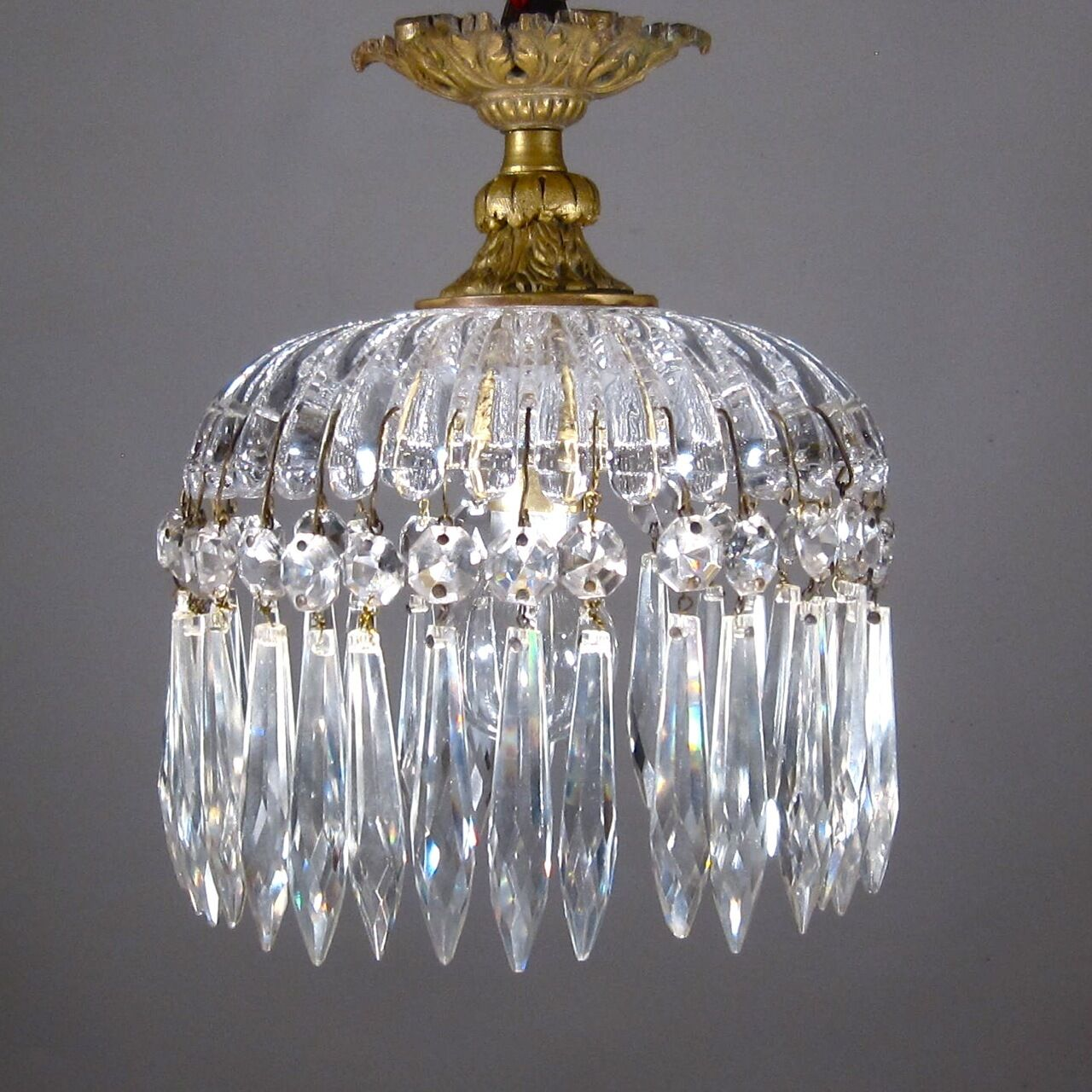 Antique FrenchBronze and Crystal Chandelier, Crystal Prisms, Signed Portieux