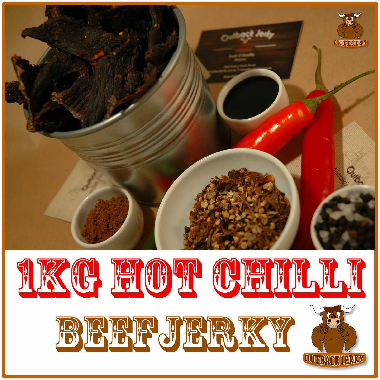 BEEF JERKY HOT CHILLI 1KG Hi PROTEIN LOW CARBOHYDRATE PRESERVATIVE FREE SNACK
