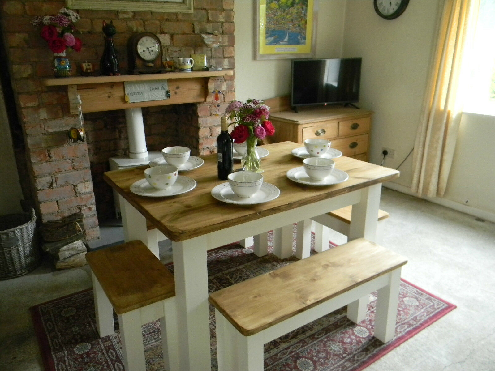 Shabby chic farmhouse contemporary pine table and chairs for Shabby chic farmhouse