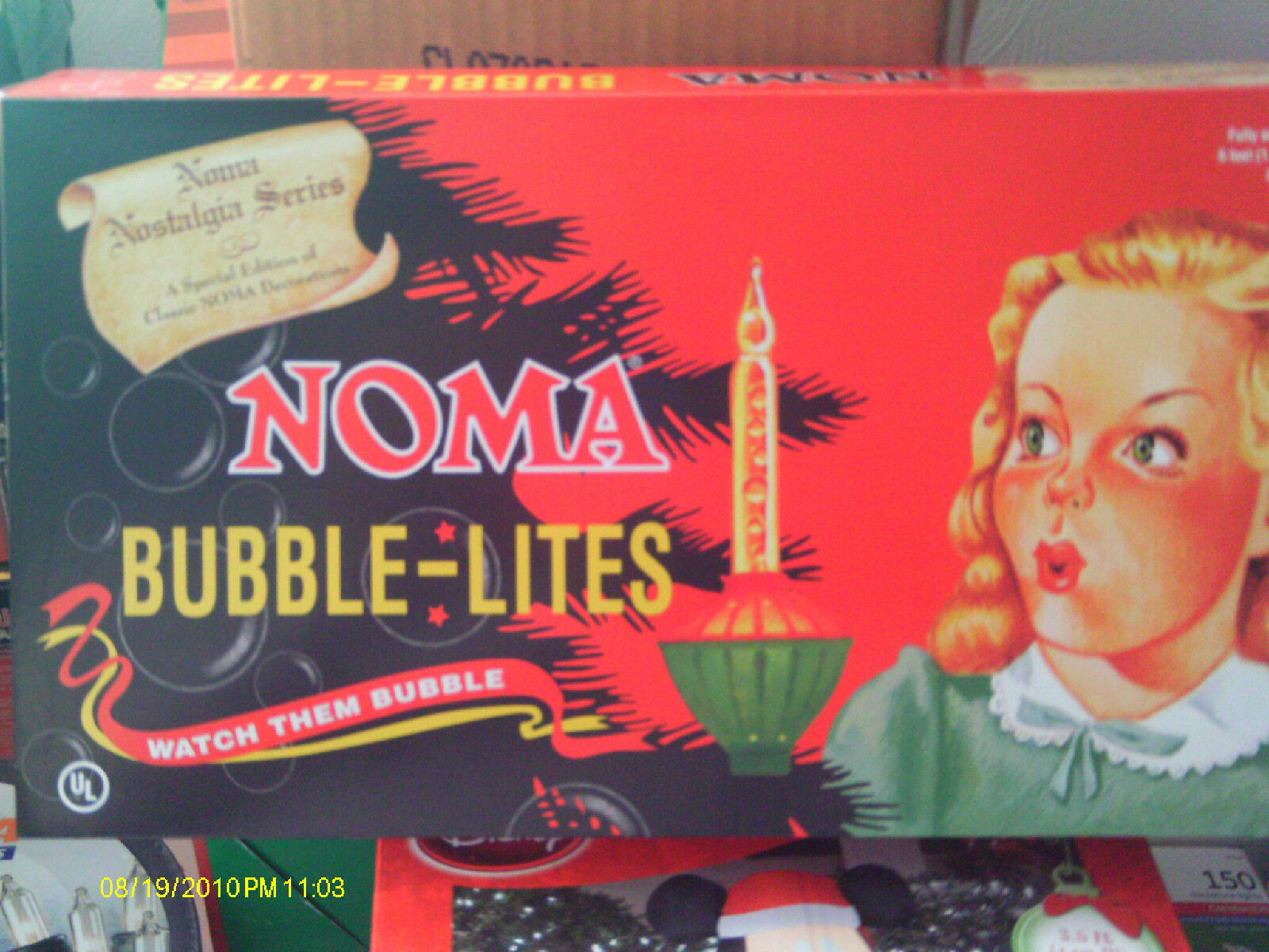 noma vintage repro christmas bubble lights red gold 7 bulb new sale ends 1031