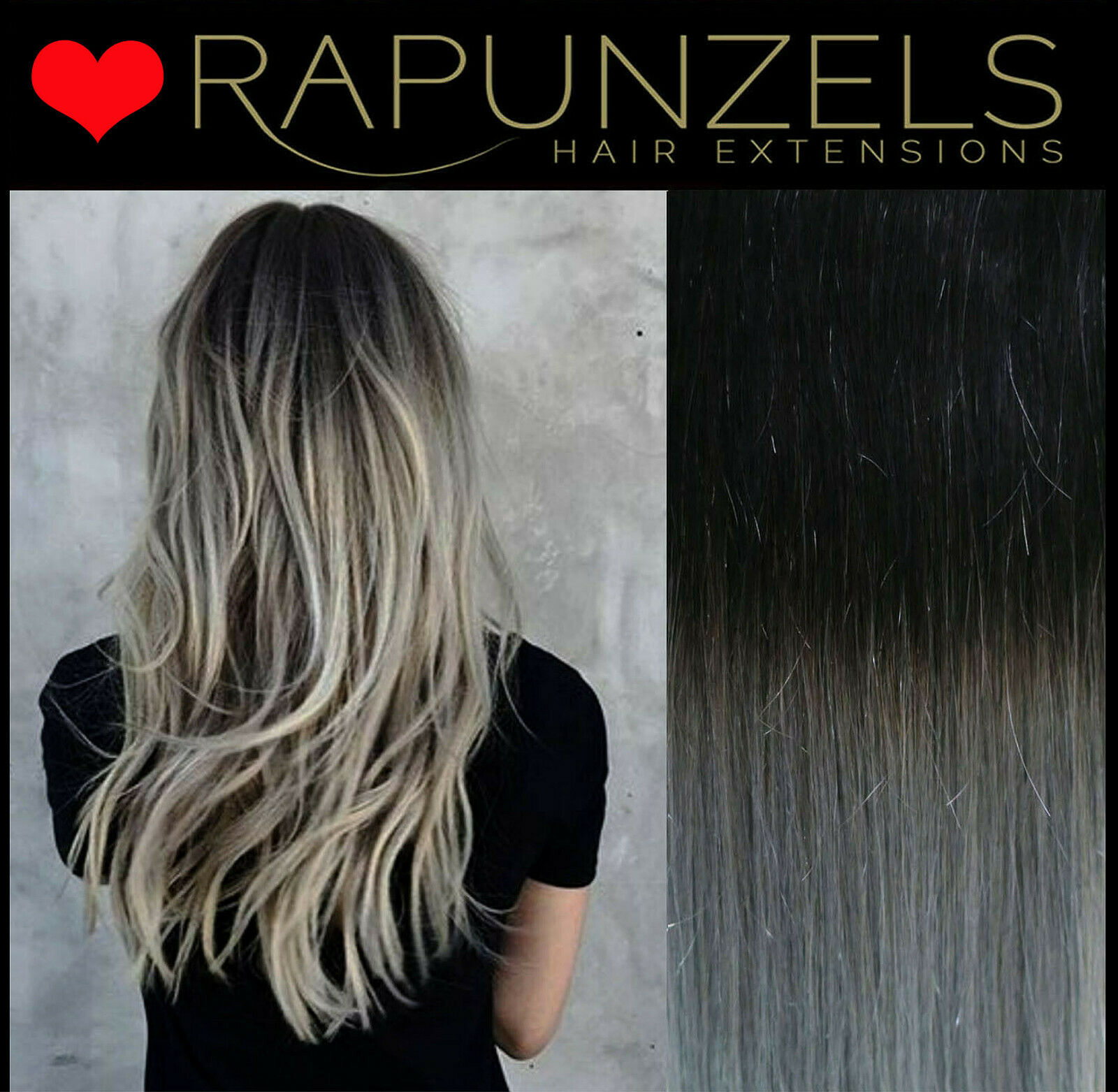 Hair Extensions Weave Weft Black To Silver Ombre Real Human Remy