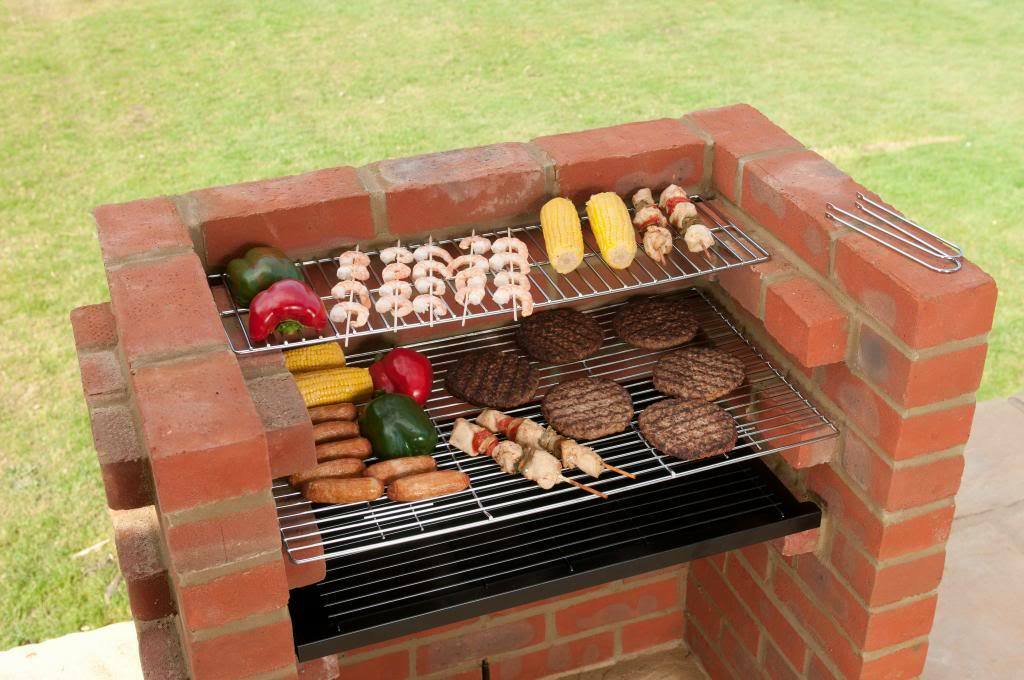 Built in brick diy bbq kit warming rack safety ember for Brick kit homes