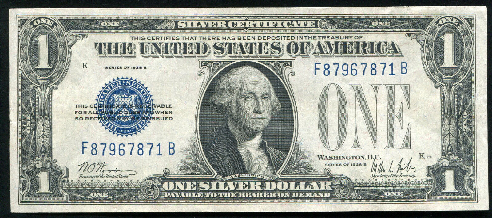1928 B 1 One Dollar Funnyback Silver Certificate About