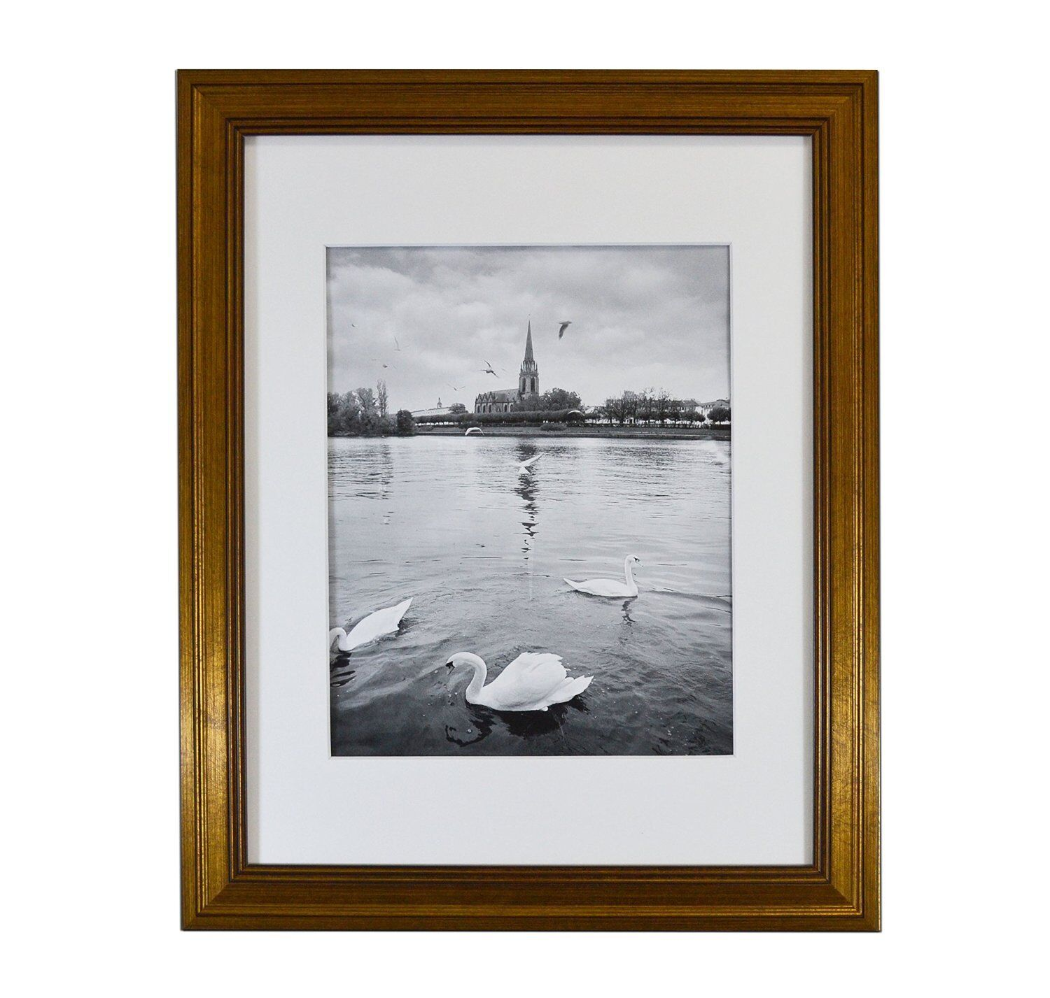11X14 PHOTO FRAME, Dark Gold Color, with Real Glass and White Mat ...