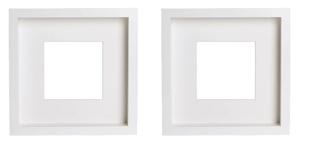 TWIN PACK NEW DEEP SQUARE WHITE IKEA SHADOW BOX PHOTO FRAME MEMORY ...
