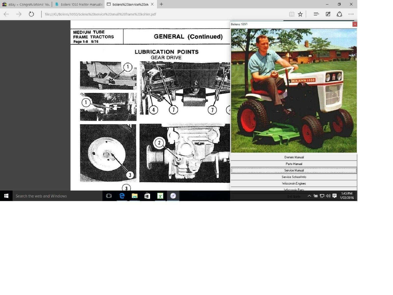 Bolens 1220 tractor service parts n owners manual library 1 of 4Only 1  available ...