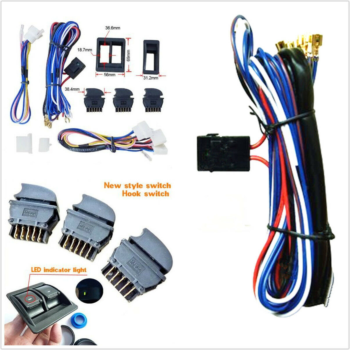 Diy Wire Harness Kits Center Motorcycle Wiring New Dc 12v Car Power Electric Window Switch With Rh Picclick Com
