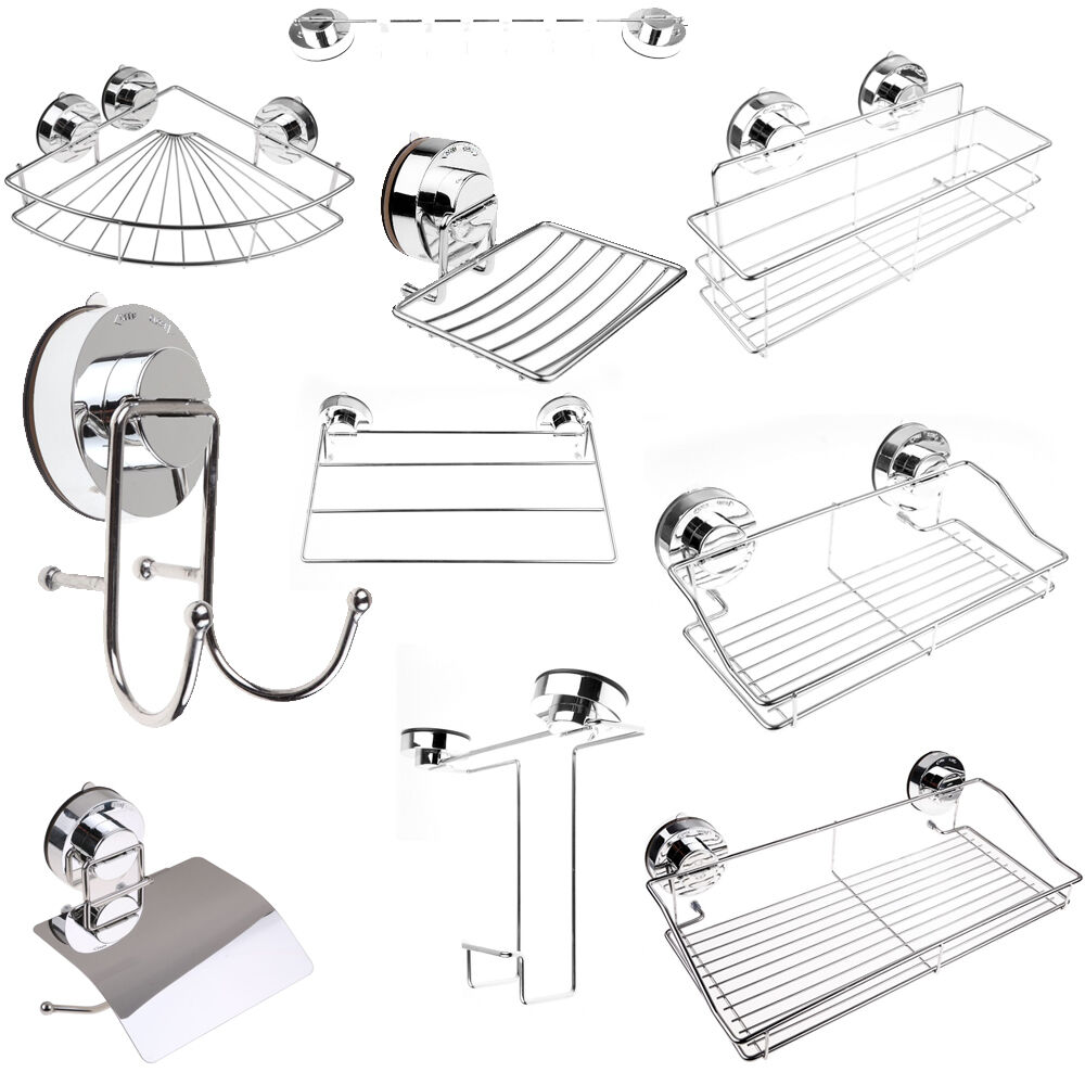 MODERN SQUARE BATHROOM Accessories Set Chrome Finish Wall Mounted ...