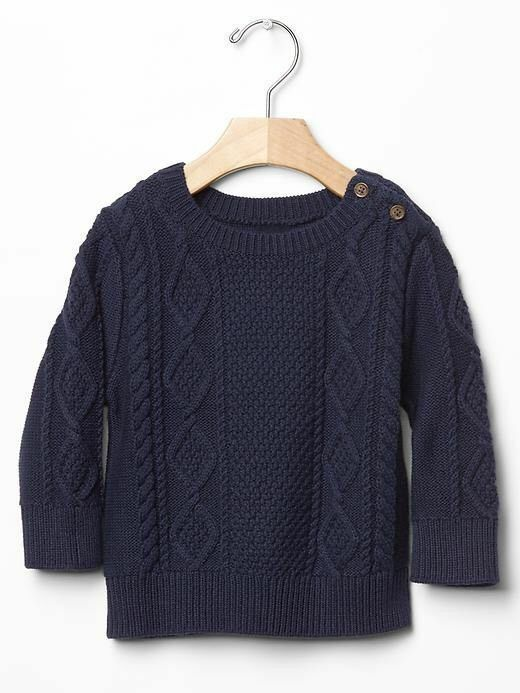 Gap Baby Toddler Boy Size 12 18 Months Navy Blue Cable Knit Long