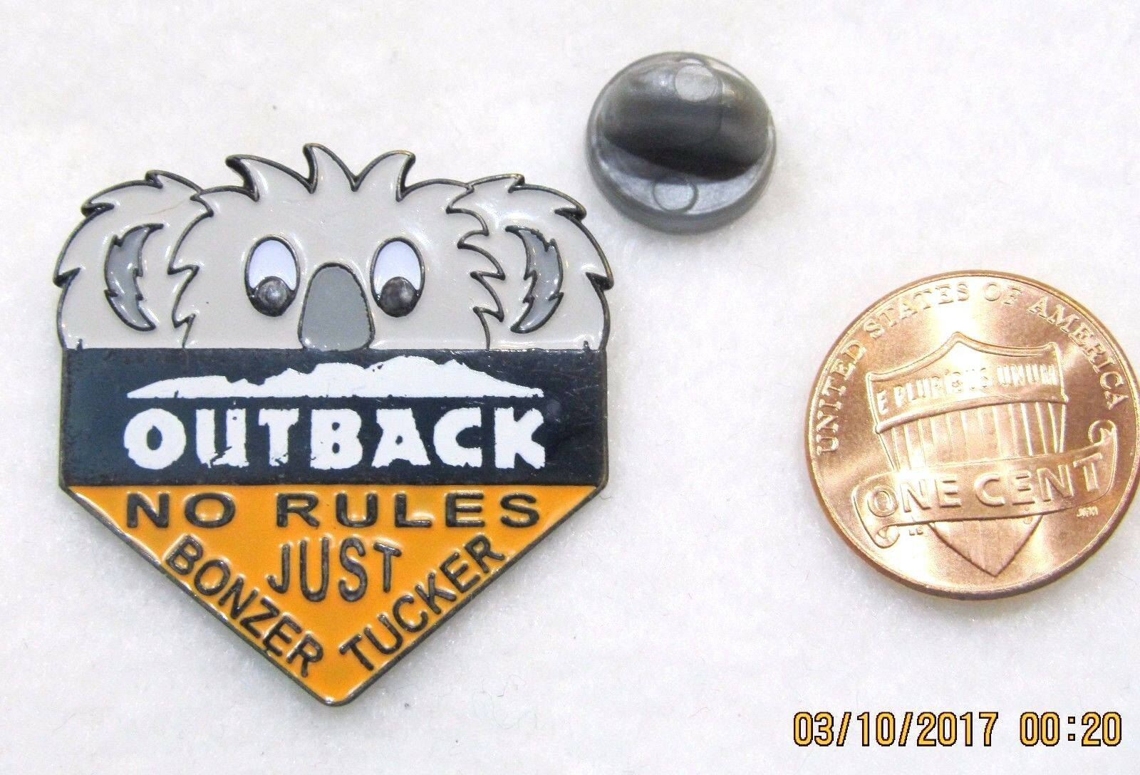 OUTBACK STEAKHOUSE NO Rules Just Bonzer Tucker Lapel Pin Pinback ...