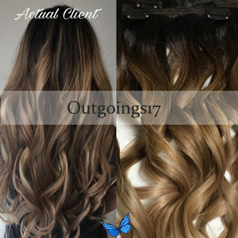 6a Brazilian Remy Clip In Human Hair Extensions Ombre Brown Wavy