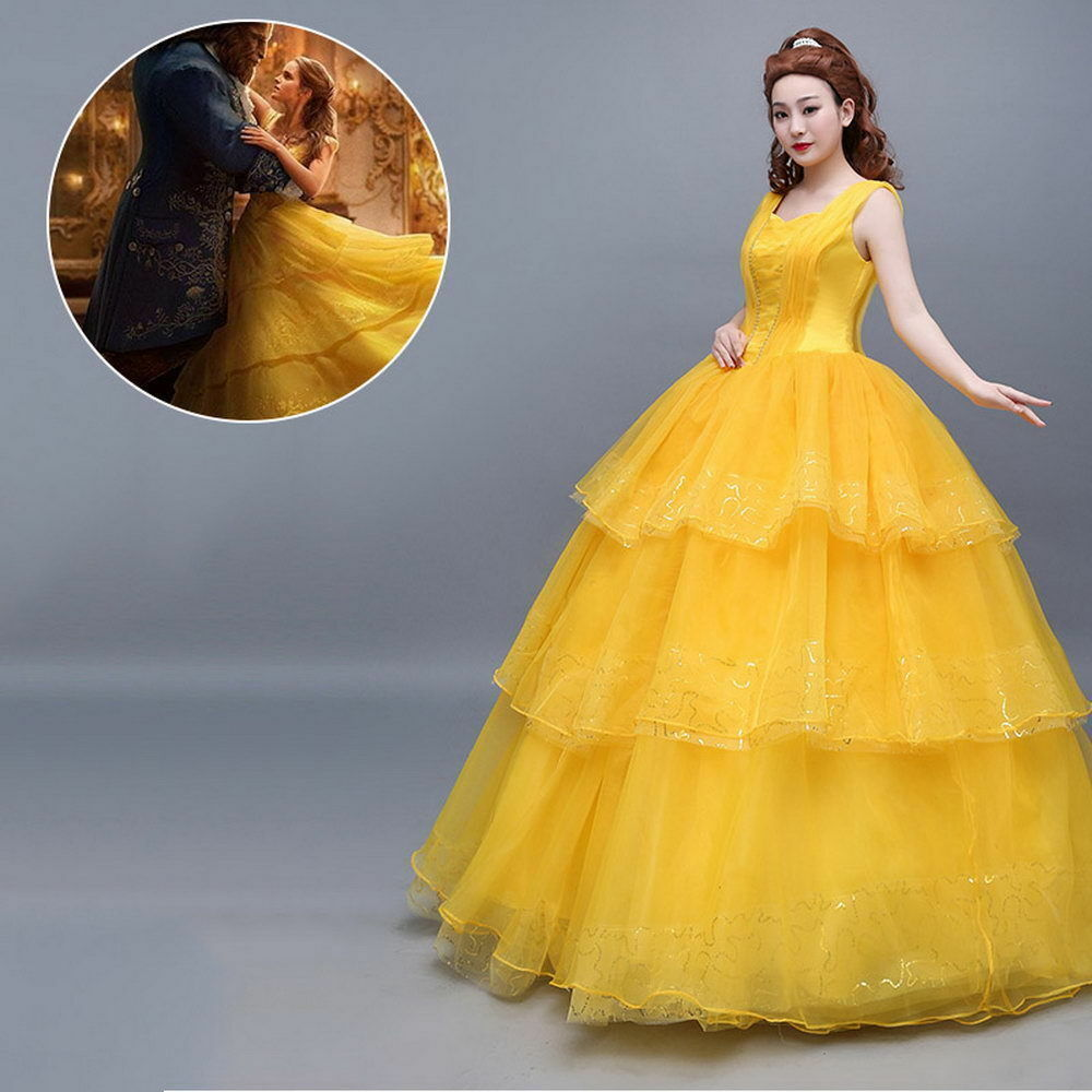 2017 MOVIE BELLE Dress Wedding Gown Yellow Beauty and the Beast ...