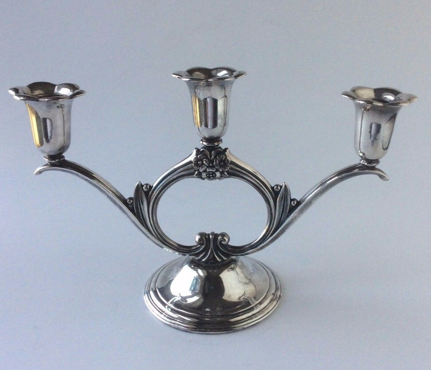 Silver Plate Candelabra Wm Rogers Sons Spring Flower Candle Holder