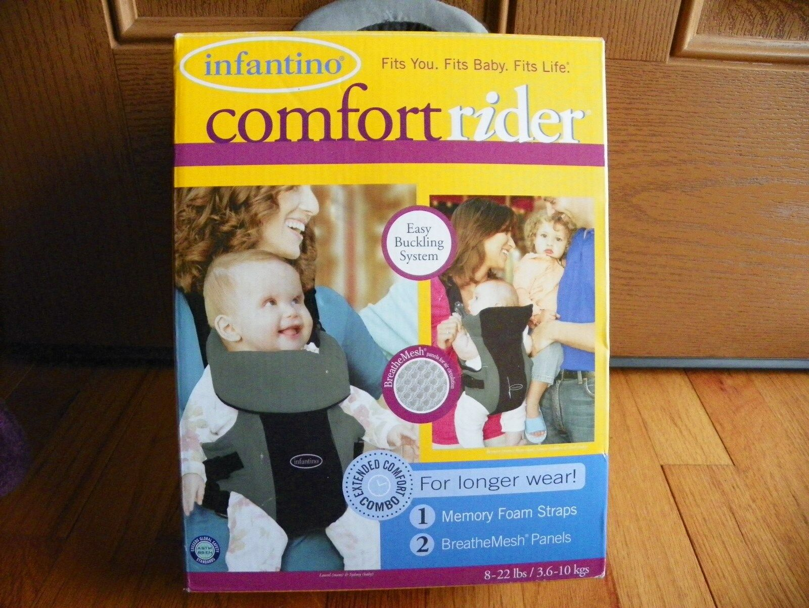 d3d87dbcbbe Infantino Comfort Rider Baby Carrier 8-22lbs Black   Gray orig box   paper  hiker 1 of 3 ...