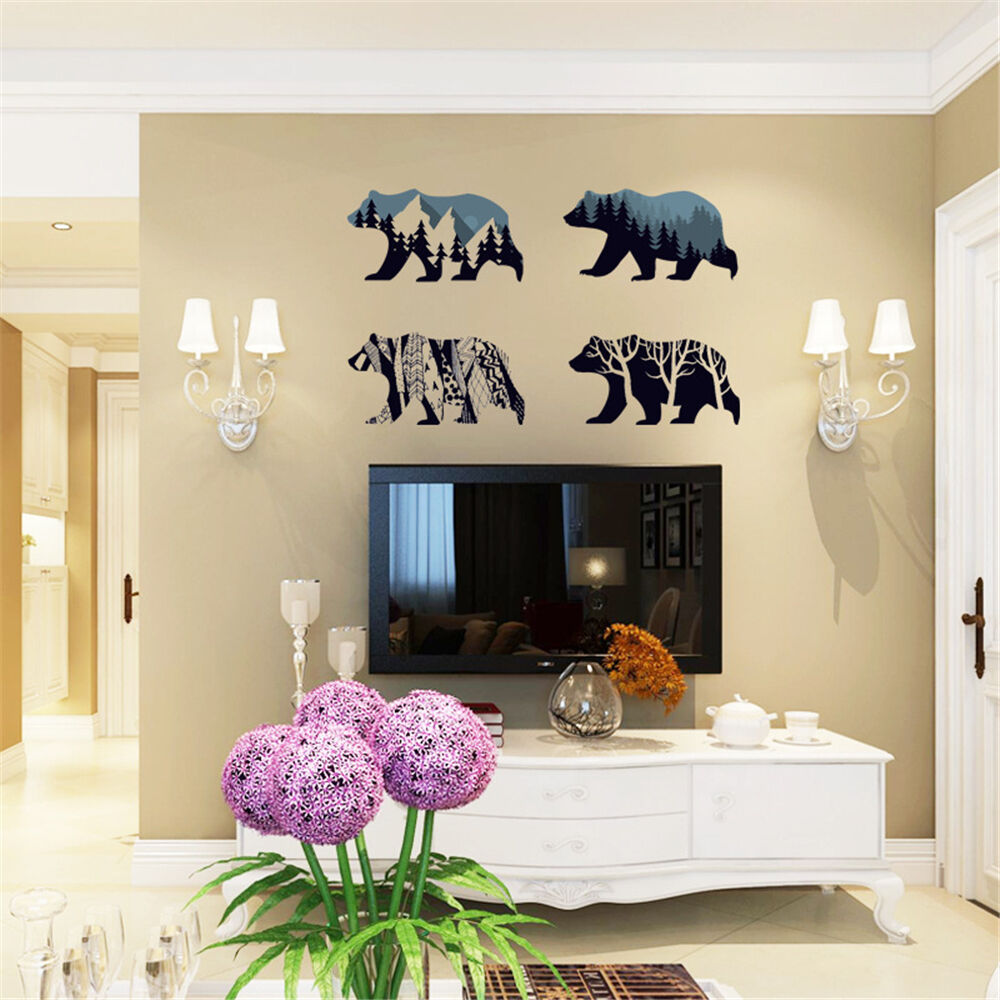 Polar bear silhouette room home decor removable wall for Bear decorations for home