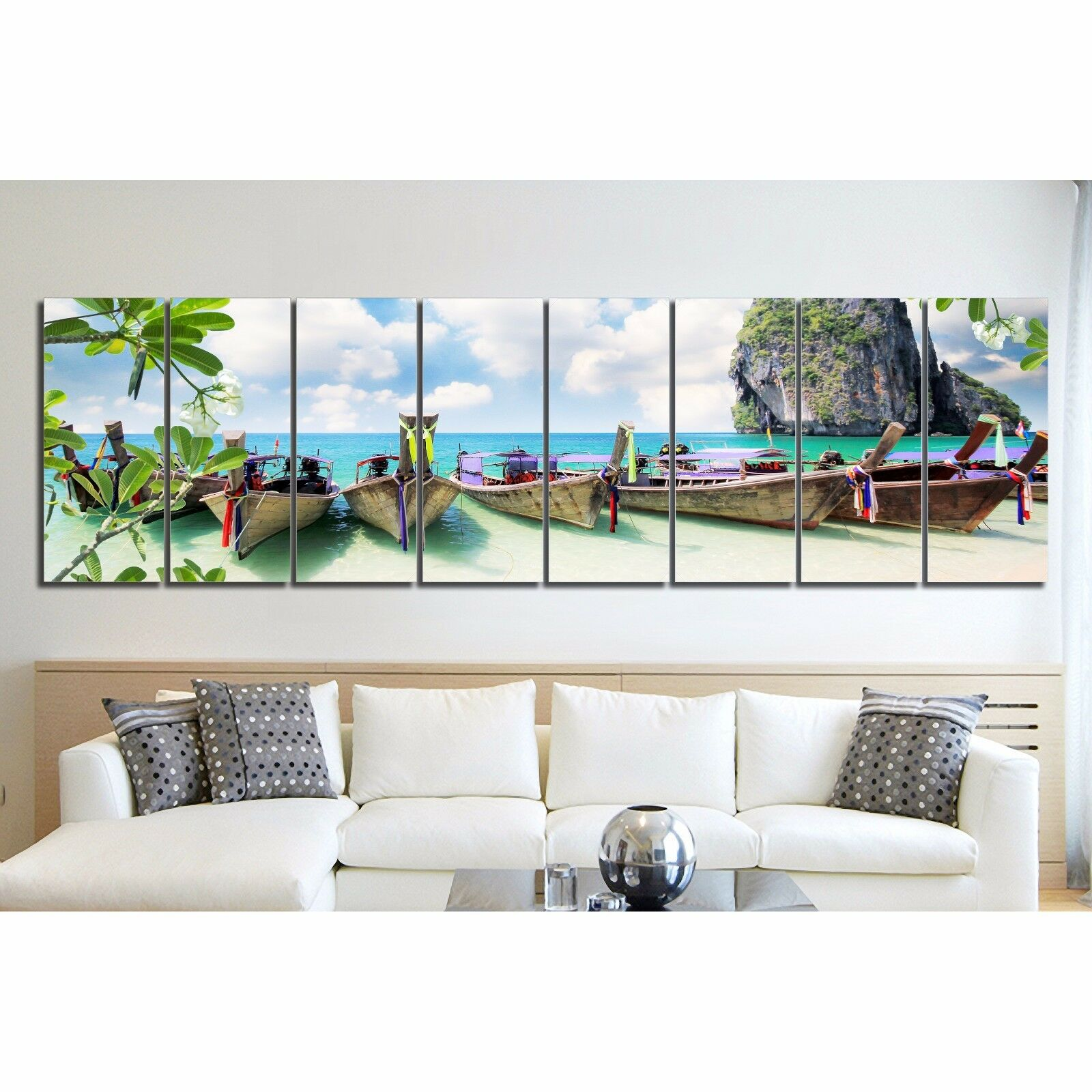 Wall Art Split Canvas : Framed split canvas prints landscape beach colorful boat