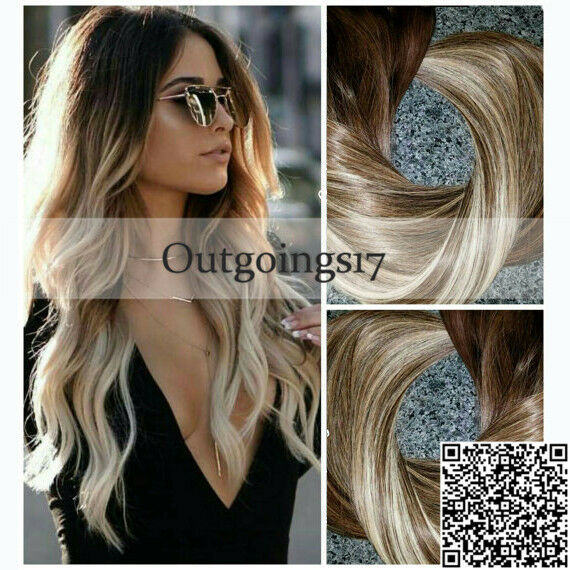 Ombre Balayage Clip In Remy Human Hair Extensions Full Head European