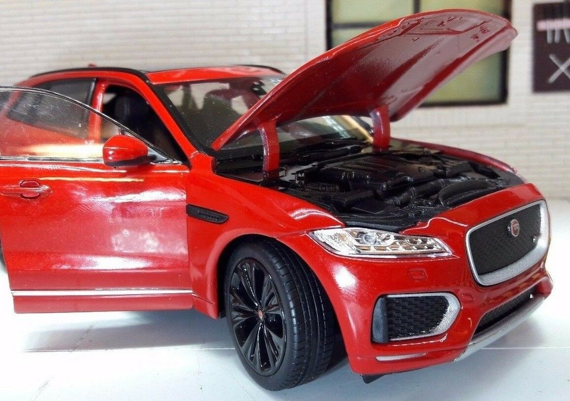 jaguar f pace 4x4 v6 red welly 1 24 scale diecast detailed model 2016 picclick uk. Black Bedroom Furniture Sets. Home Design Ideas