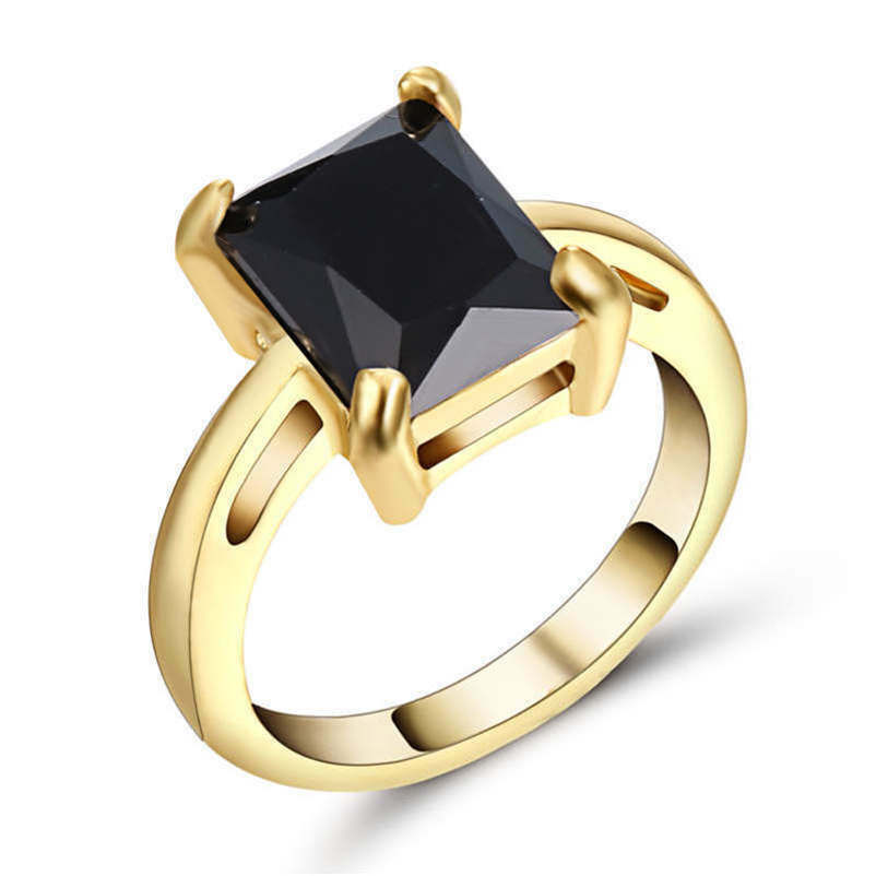 Princess Cut Size 7 Yellow Rhodium Plated Black Sapphire Wedding Ring For Wom