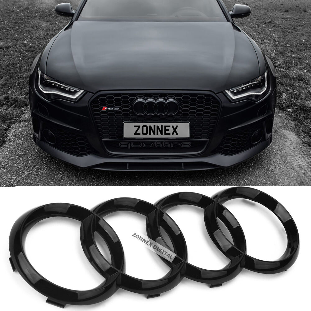 new black gloss front grille badge ring logo emblem audi a4 a6 q3 q5 q7 285x99mm chf. Black Bedroom Furniture Sets. Home Design Ideas