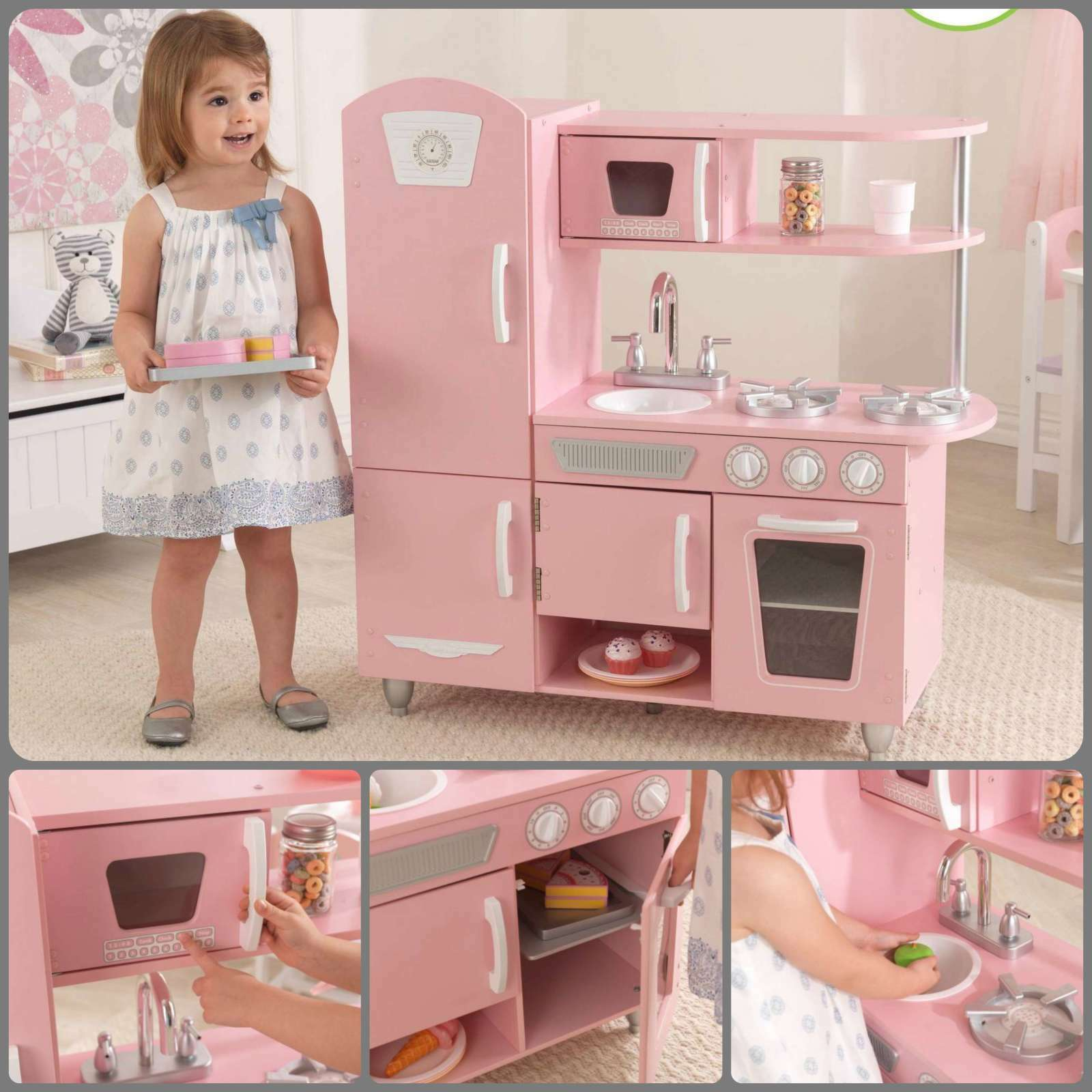 Kids Pretend Play Vintage Wooden Kitchen Pink Toy For Girl Cooking Food Playset Cad