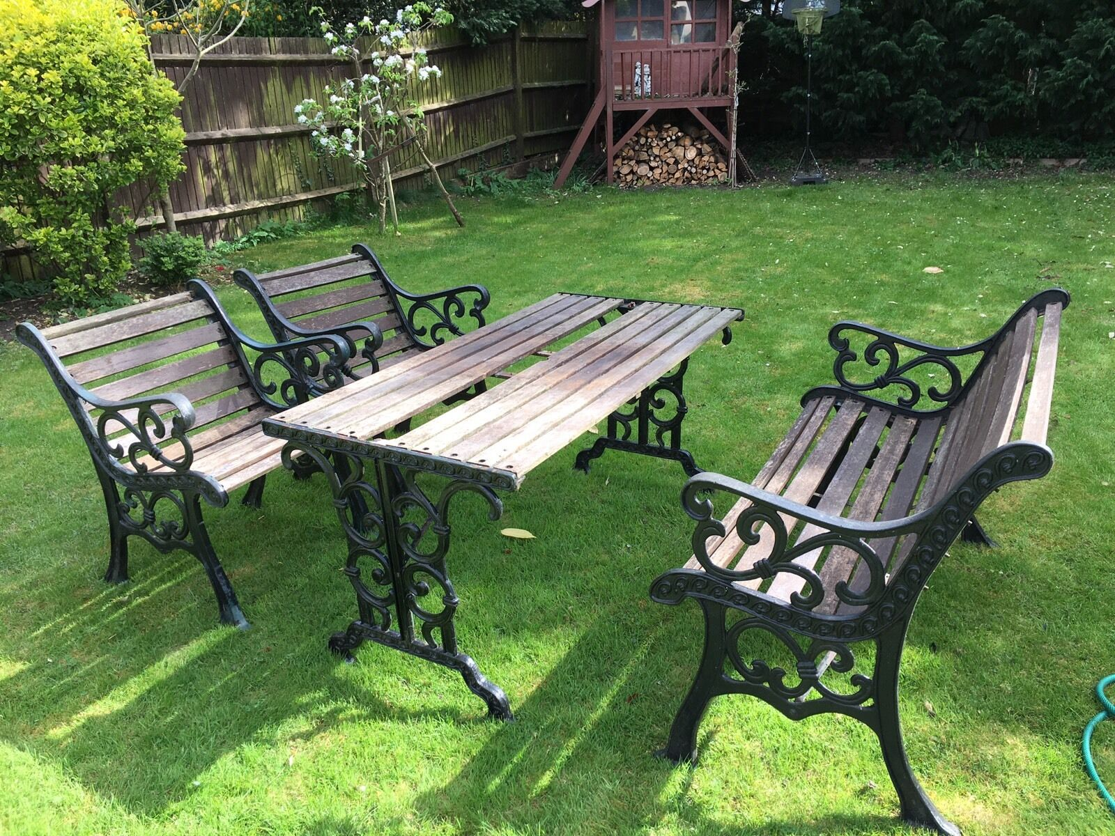 garden furniture set cast iron and wood 4 pieces 100. Black Bedroom Furniture Sets. Home Design Ideas