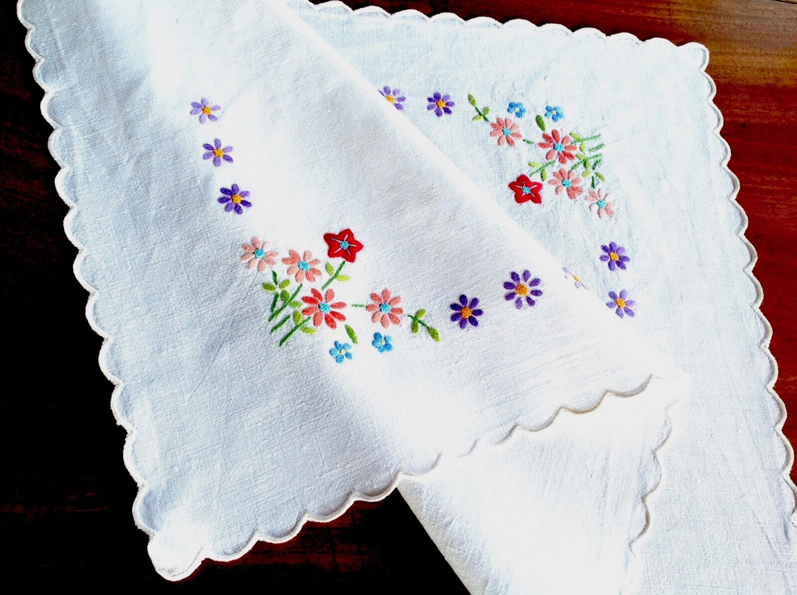 Vintage hand embroidered off white linen table tray