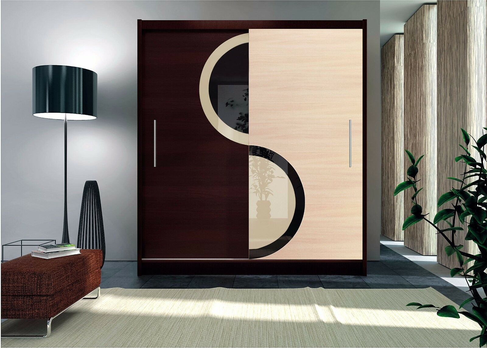 Modern bedroom sliding door wardrobe york 1 180cm for Sliding glass doors 9ft