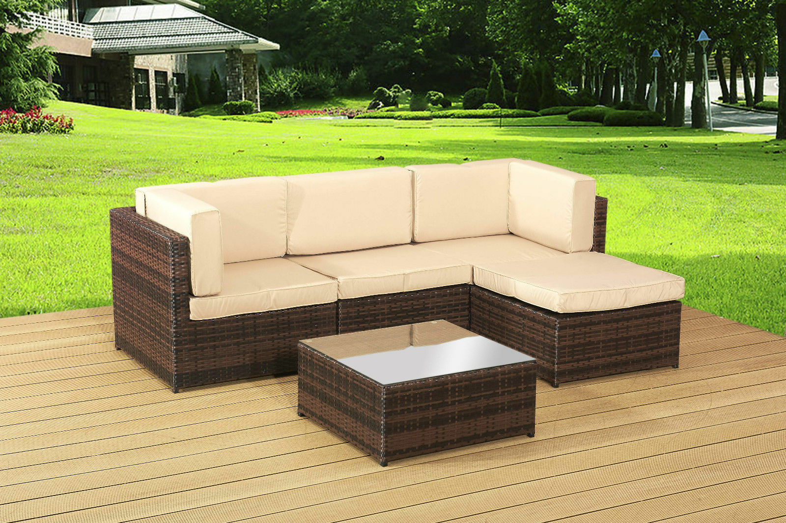 Garden rattan furniture brown lounge set and table for Lounge garden furniture sets