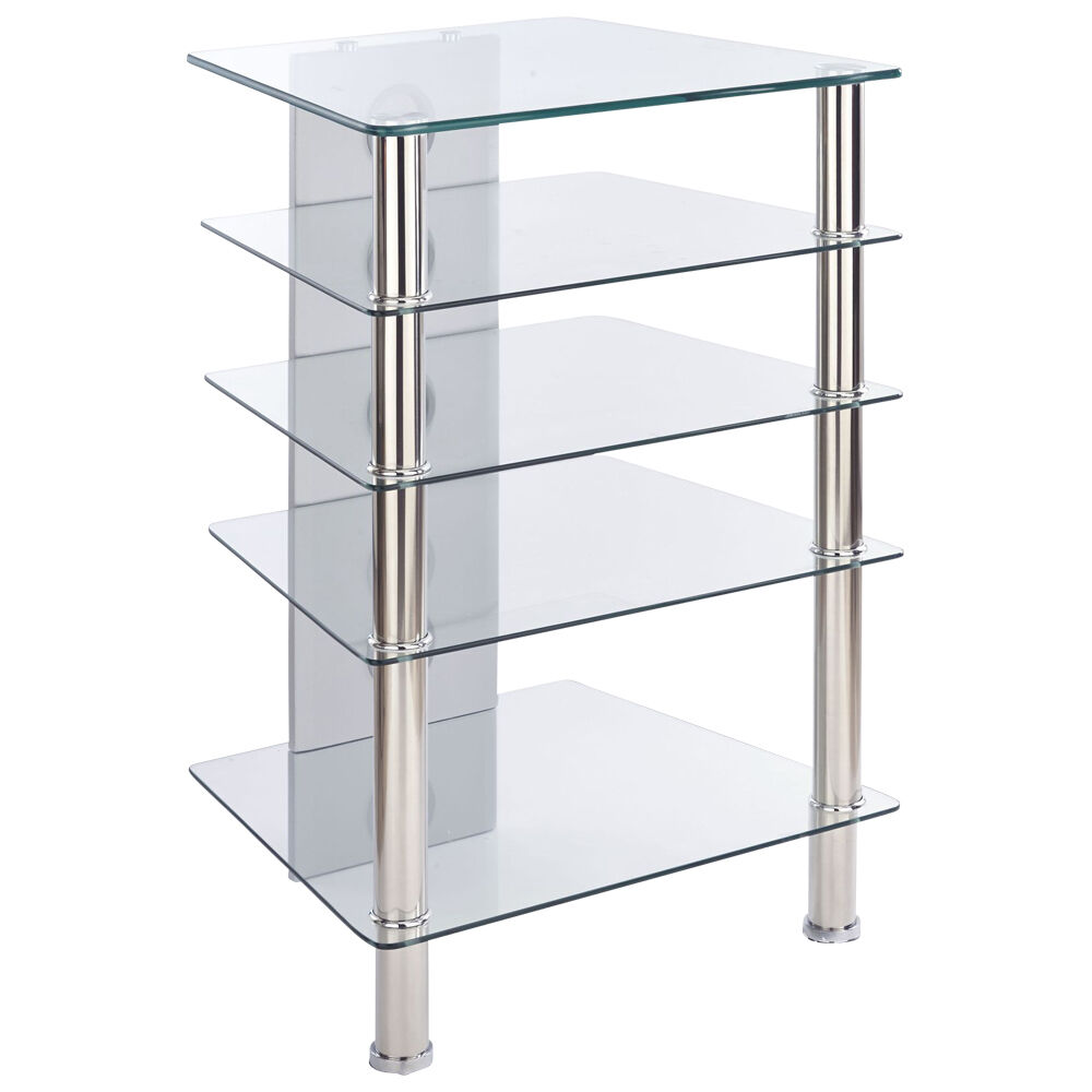 mmt hi fi stand rack 5 shelf cabinet clear glass chrome. Black Bedroom Furniture Sets. Home Design Ideas