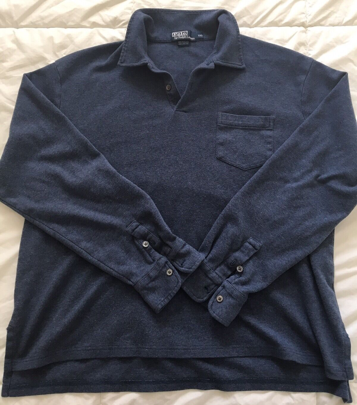 Mens polo ralph lauren long sleeve shirt blue size xxl for Longer length mens polo shirts