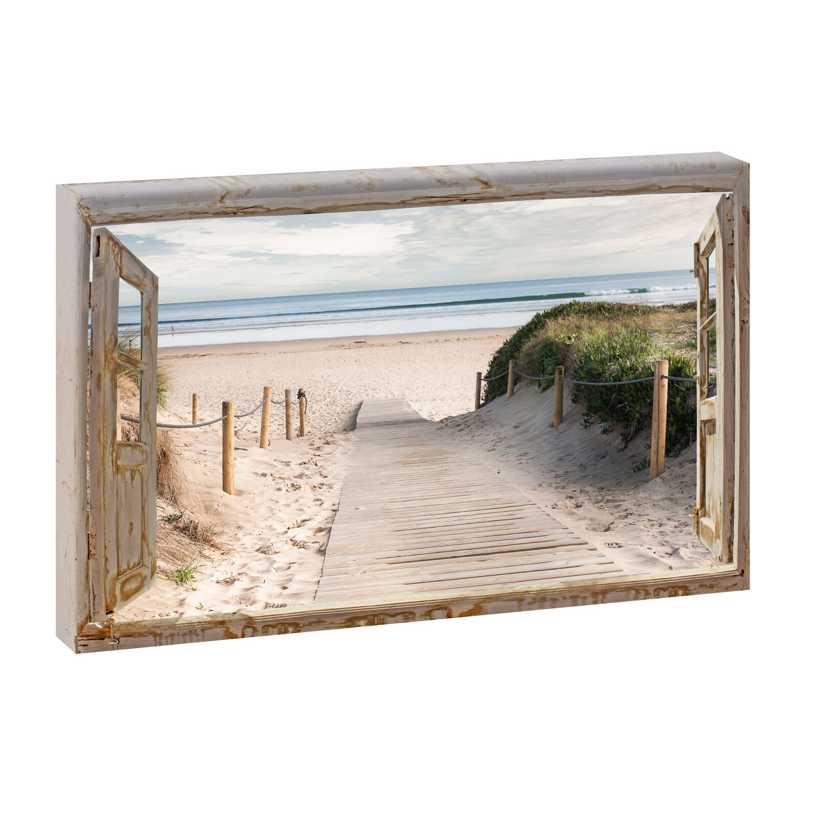 bild auf leinwand fensterblick nordsee strand meer poster xxl 120 cm 80 cm 623q eur 37 52. Black Bedroom Furniture Sets. Home Design Ideas