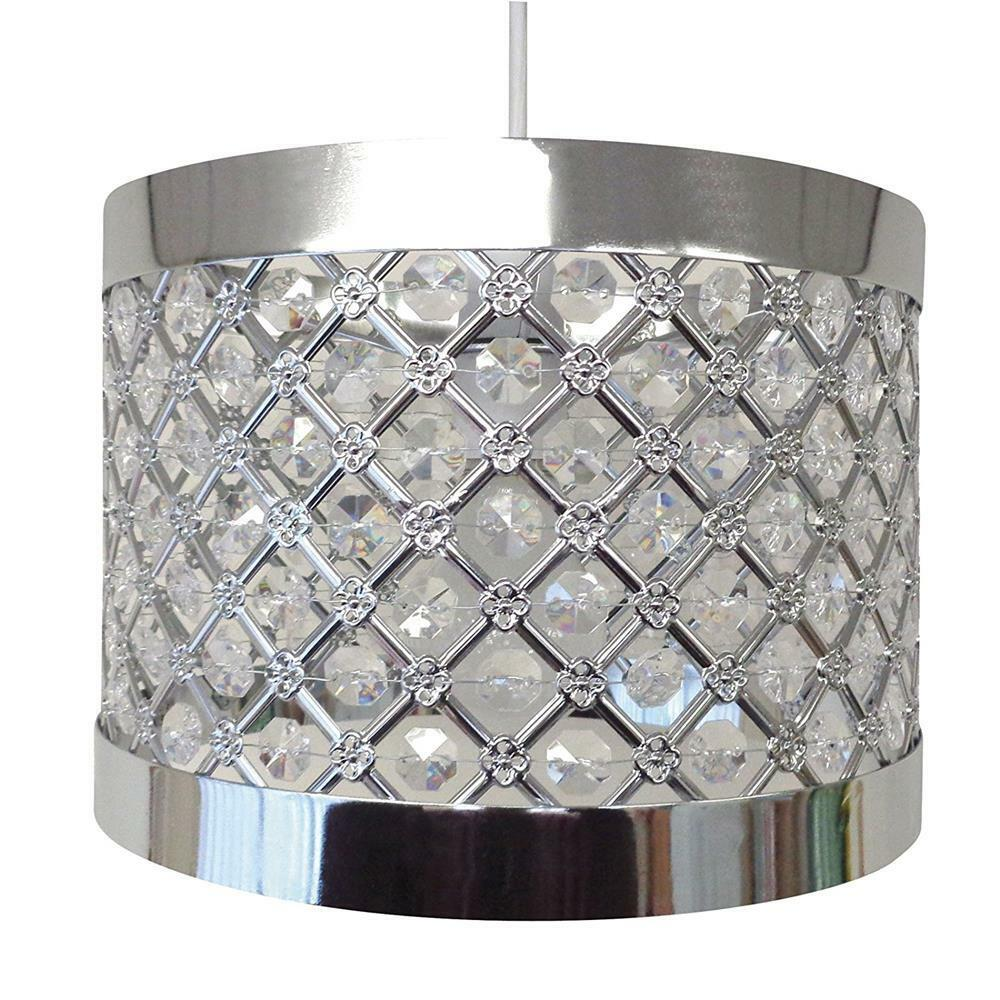 Modern Chrome Ceiling Pendant Light Shade Fitting Crystal