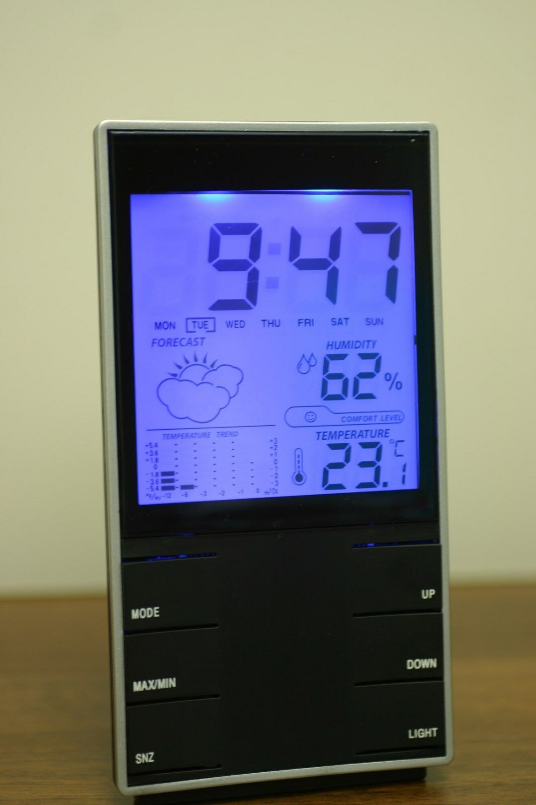 Digital Lcd Weather Station Humidity Multifunction Themperature Thermometer And Hygrometer With Clock Alarm 1 Of 6only 5 Available