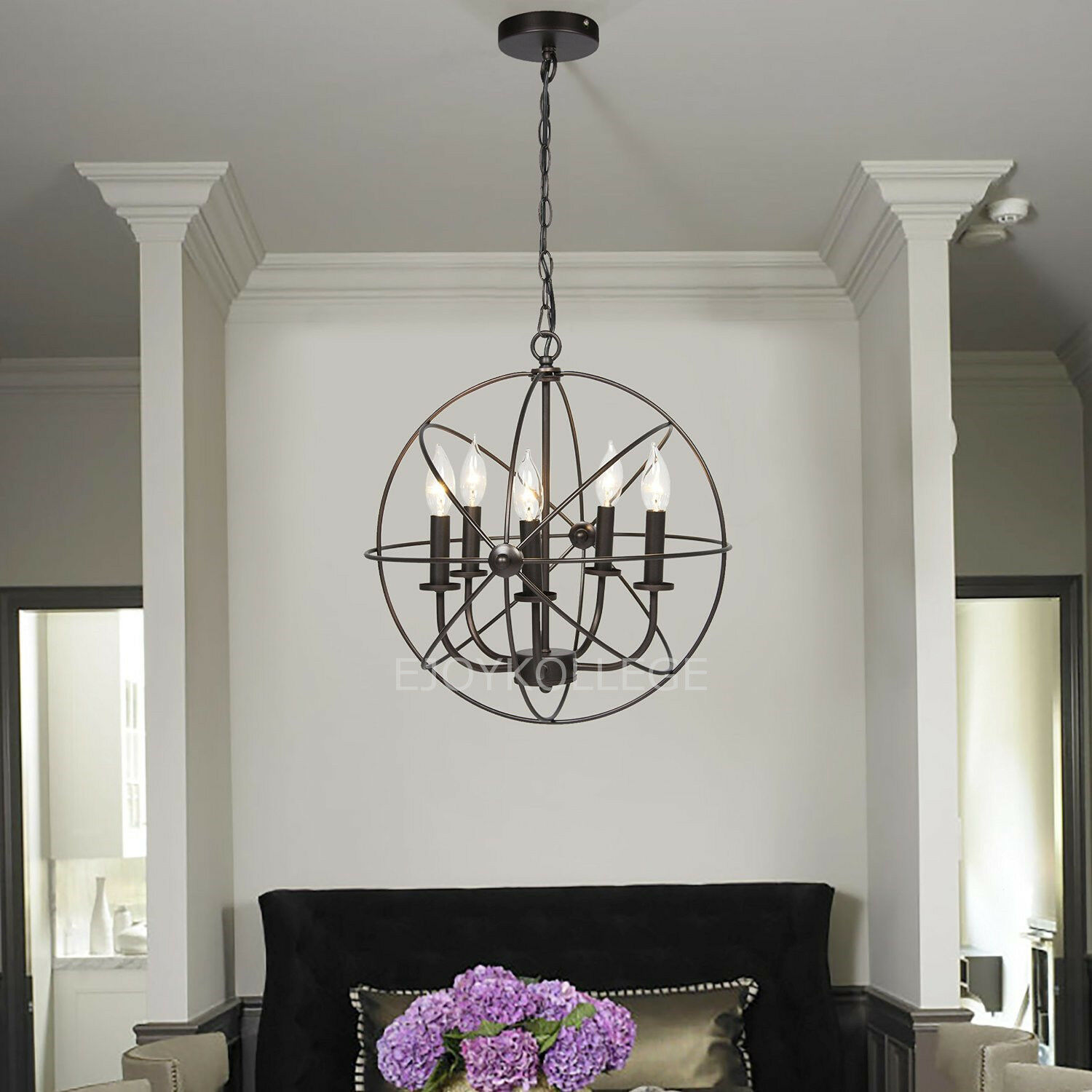 Round Ball Chandelier Retro Industrial Candle Hanging