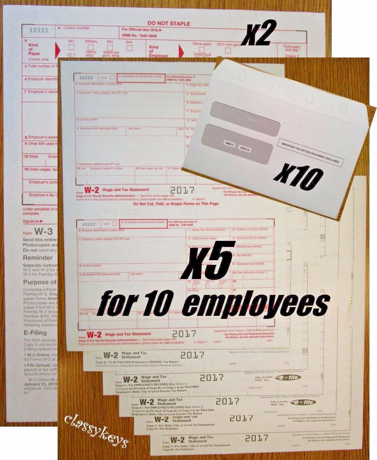 2017 IRS TAX FORMS KIT:: W-2 Wages 6-pt LASER for 10 employees + W-3 ...