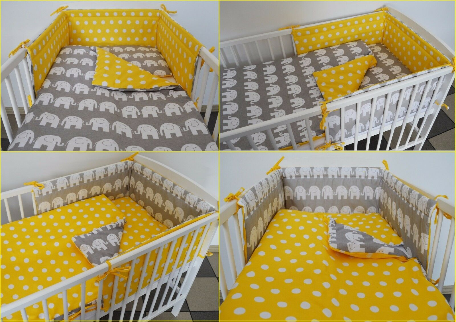 Grey Toddler Bed Bedding : Pc grey yellow baby bedding set cot bed bumper