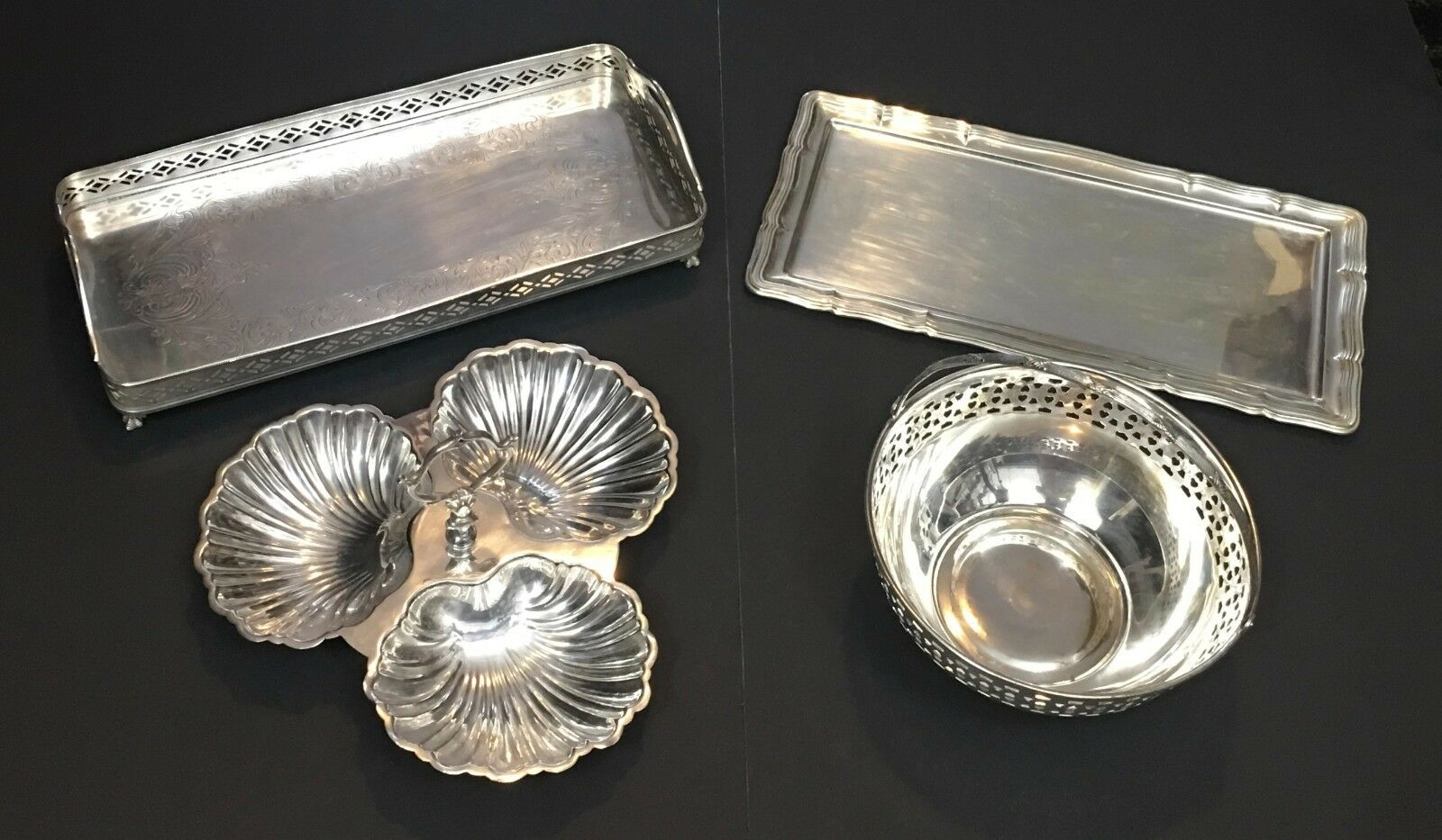 Lot of 4 Antique Sheffield HKE Silver Plate Pierced Trays Bowl Clam Shell Dish