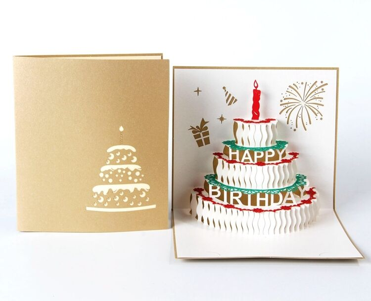 Happy Birthday Cake 3d Pop Up Greeting Card Gold Color Cover 1