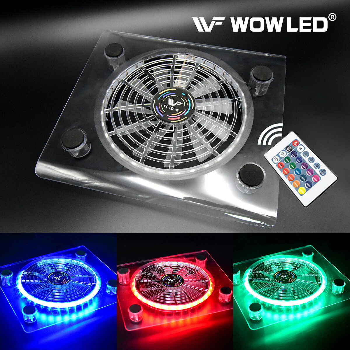 Usb Rgb Led Cooler Cooling Fan Pad Stand W Wireless Remote 1 Of 6free Shipping