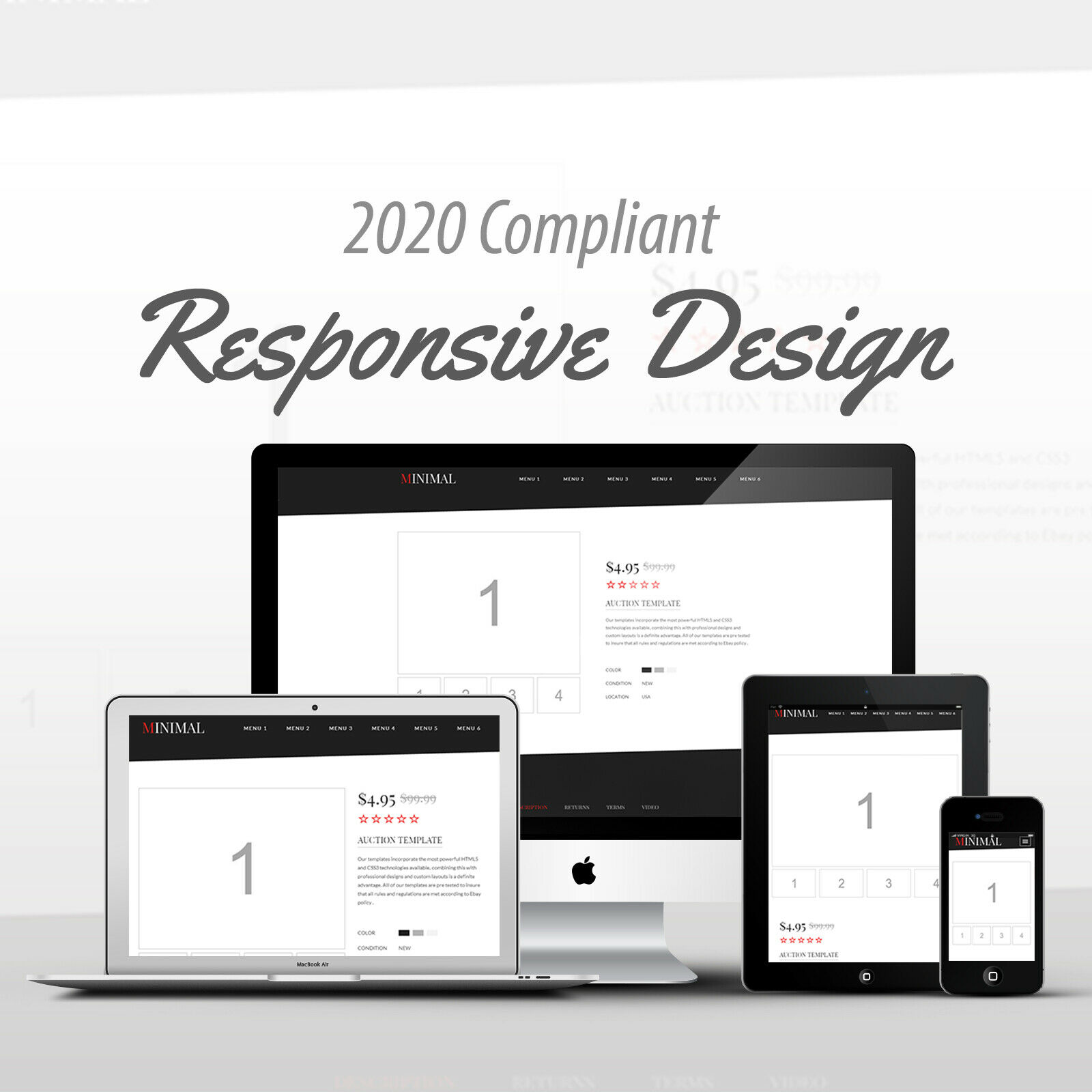 2018 Compliant Mobile Responsive Ebay Auction Listing Template