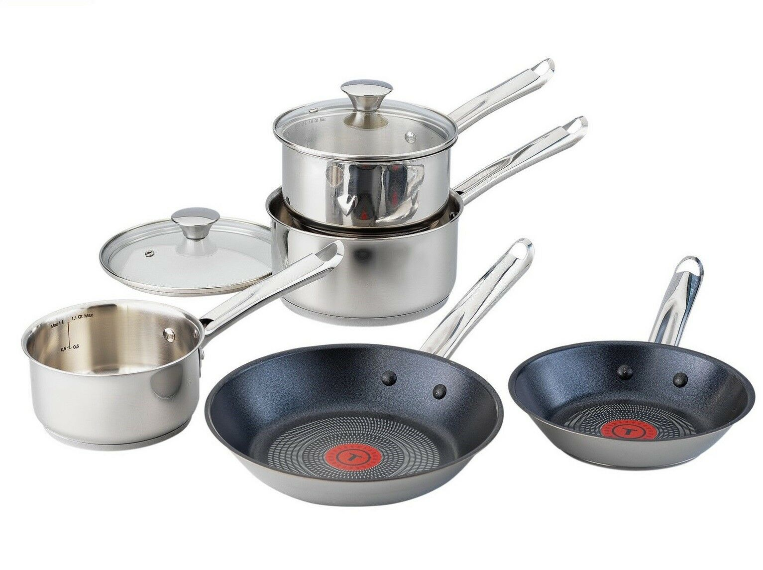 tefal elementary 5 piece pan set non stick induction stainless steel glass lids. Black Bedroom Furniture Sets. Home Design Ideas