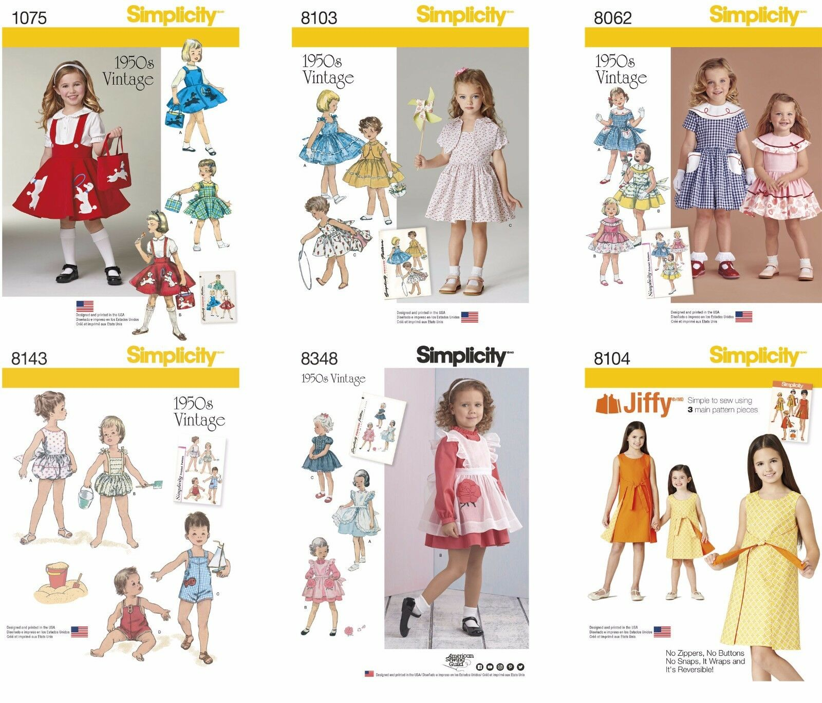 SIMPLICITY SEWING PATTERNS Girls\' Toddlers\' Retro Vintage Dresses ...