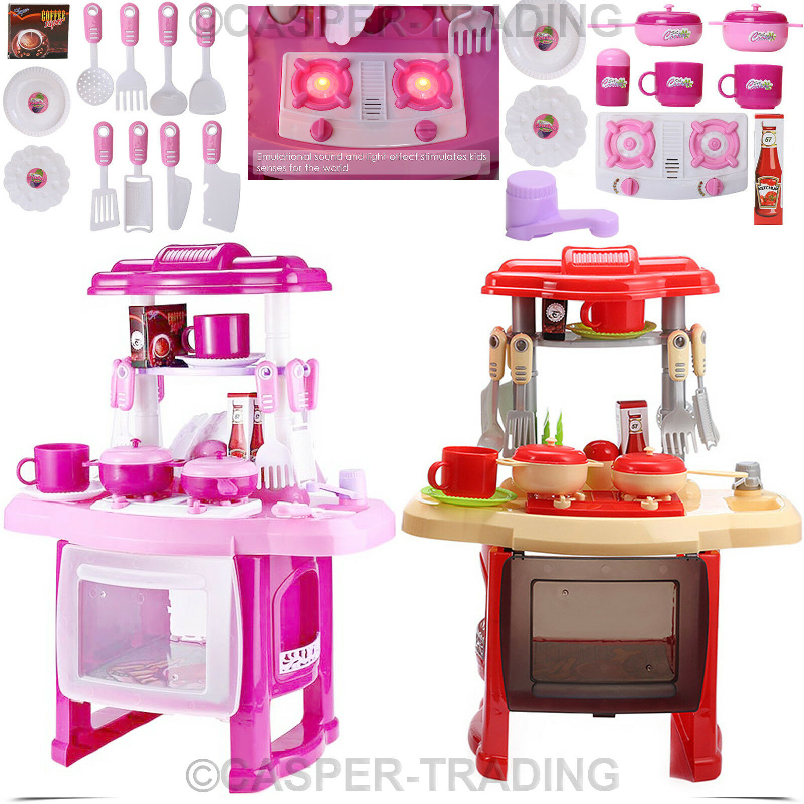 Portable electronic childrens kids kitchen cooking girls for Kitchen set portable