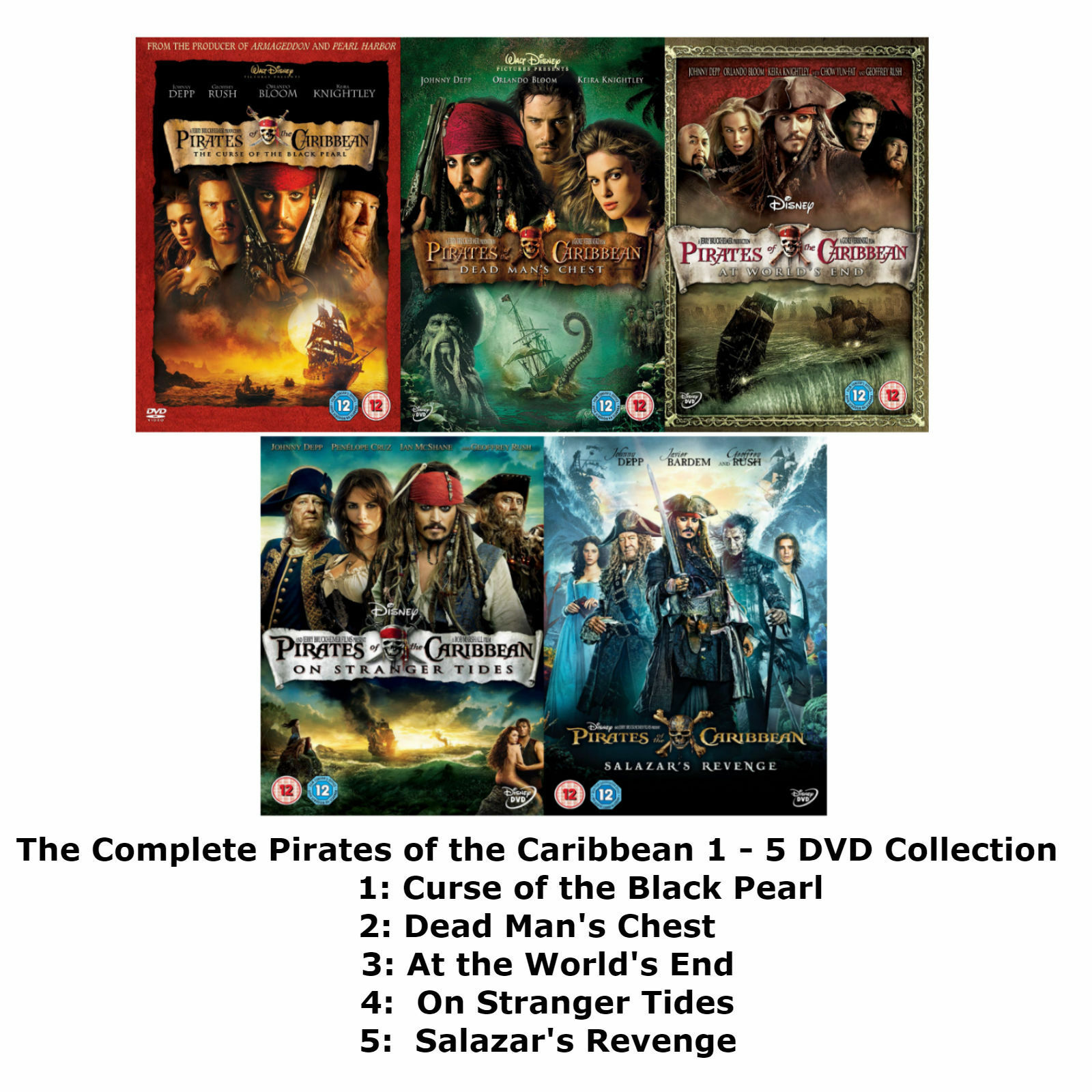 Pirates Of The Caribbean Dvd All Movie 1 2 3 4 5 Film