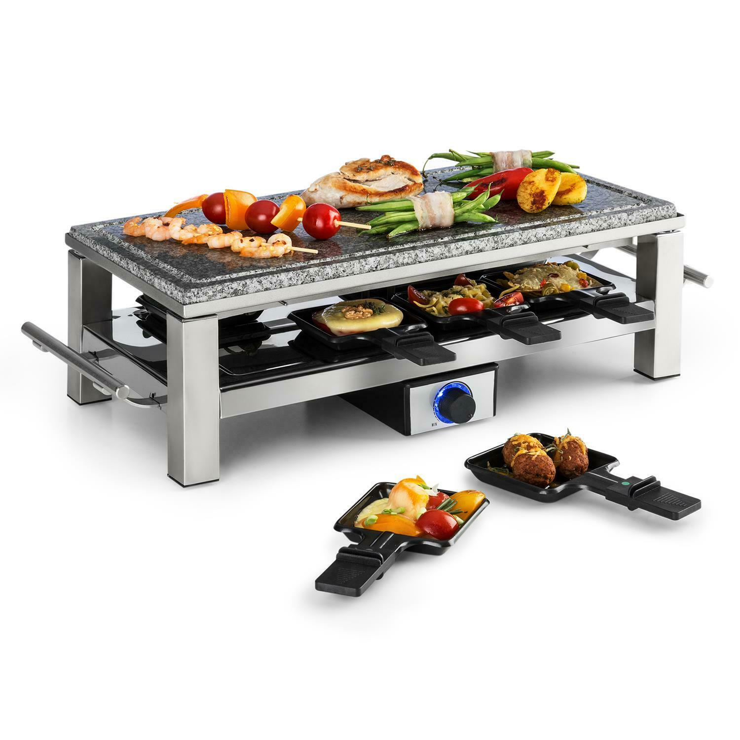 raclette tischgrill naturstein platte edelstahlgeh use elektrisch tragbar 1500w eur 49 99. Black Bedroom Furniture Sets. Home Design Ideas