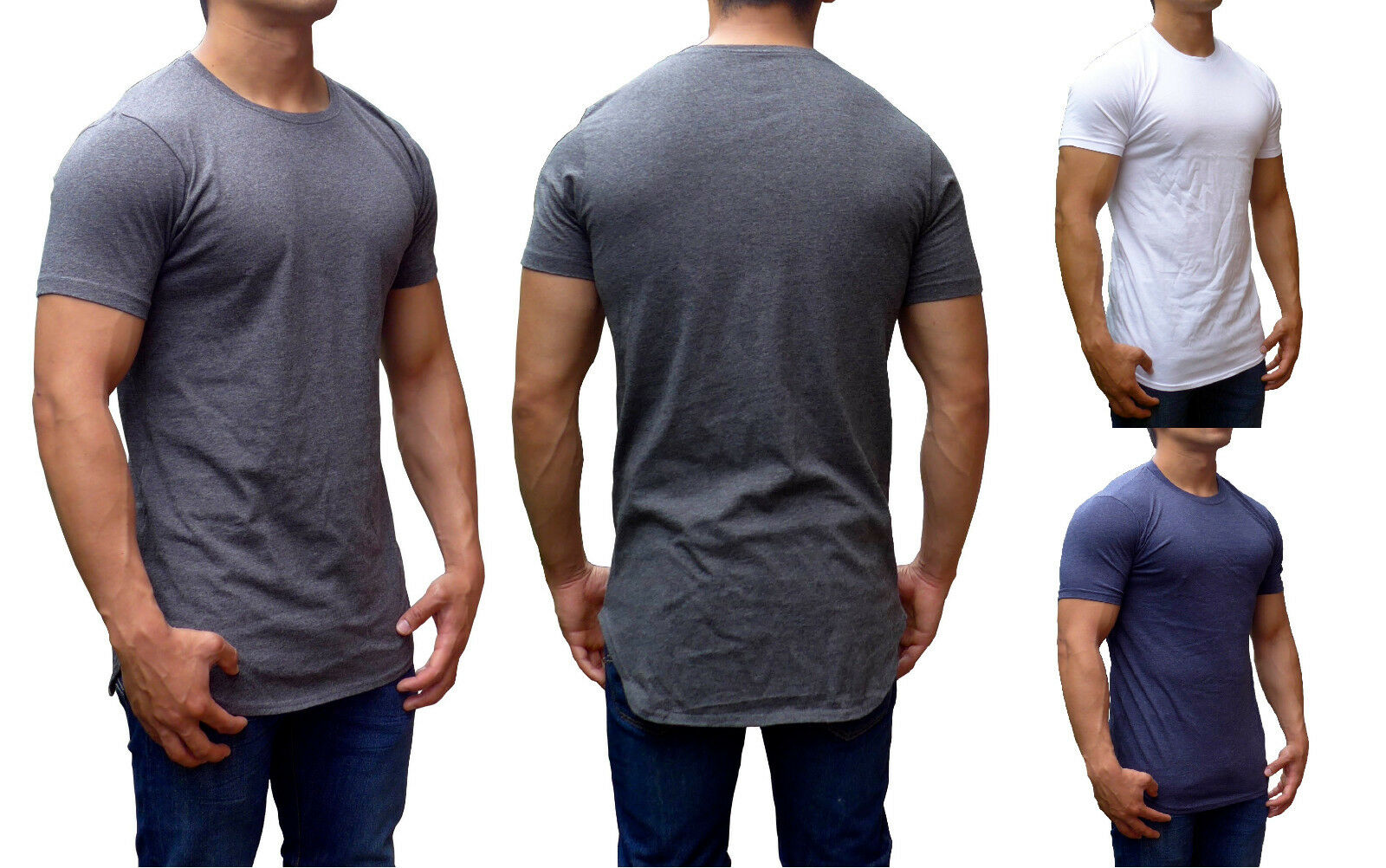 Mens tall tees top extra long length slim fit gym fashion for Extra long shirts for tall men