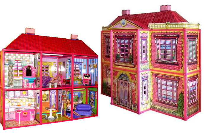 xxl barbie haus mit m bel 108 x 37 x 94 cm neu eur. Black Bedroom Furniture Sets. Home Design Ideas