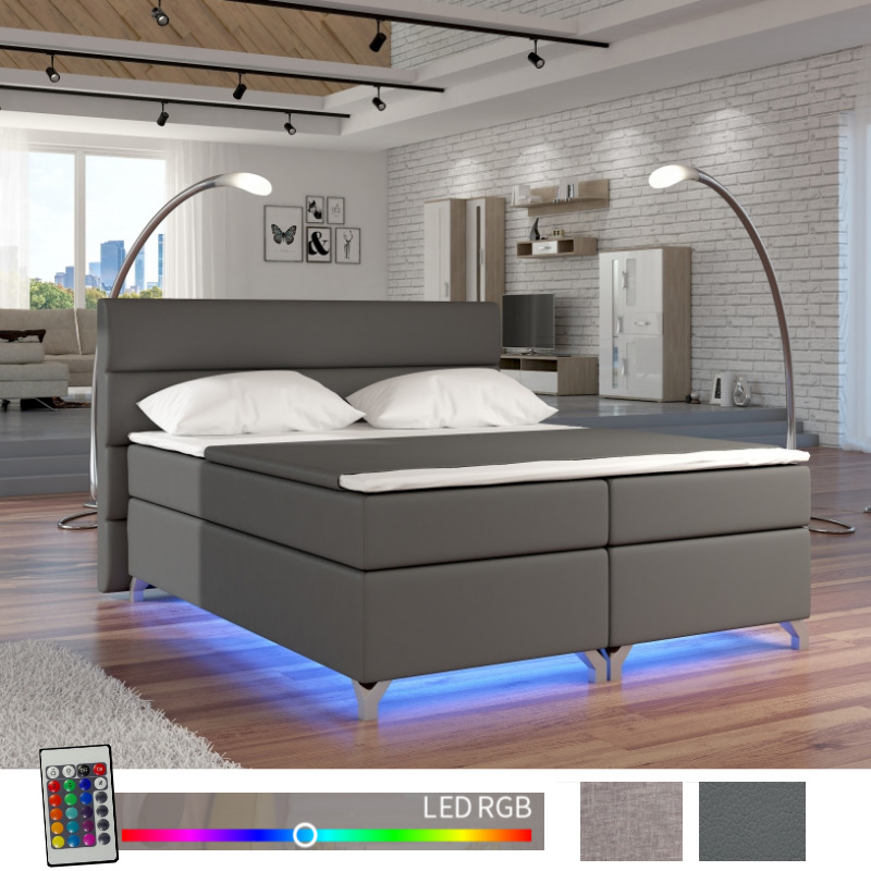 boxspringbett luciano grau matratze topper bettkasten rgb. Black Bedroom Furniture Sets. Home Design Ideas